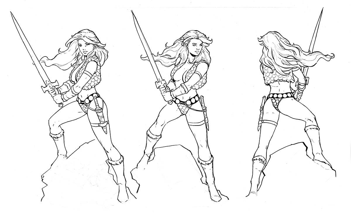 Line-art of Storm main hero figurine